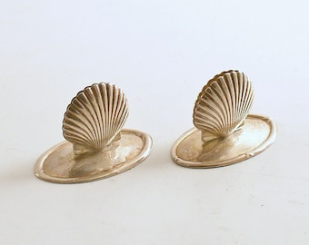 Vintage Silver Clam Shell Place Card Holders Clamshells
