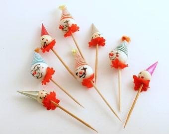 Vintage Picks Spun Cotton Cupcake Picks Cake Decoration Clown Picks
