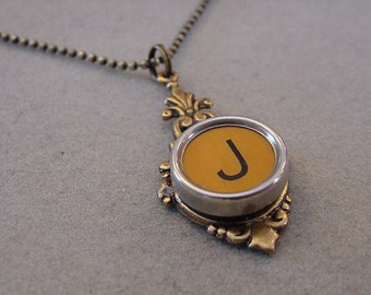 Typewriter Key Necklace  Butterscotch Letter J  Antiqued brass setting Initial J Typewriter key Jewelry Initial Necklace J