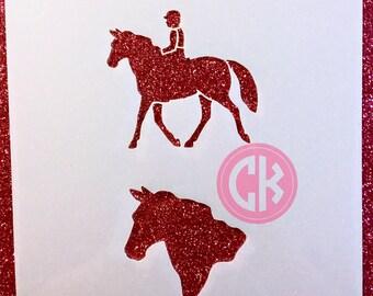 """Cookie Stencil - Horses & Rider  6""""x6"""" Laser Cut Stencils"""