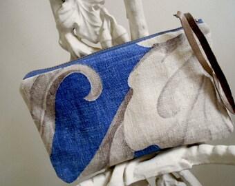 1920s linen zipper pouch, pencil case, utility bag - indigo taupe antique flax, ticking - eco vintage fabrics
