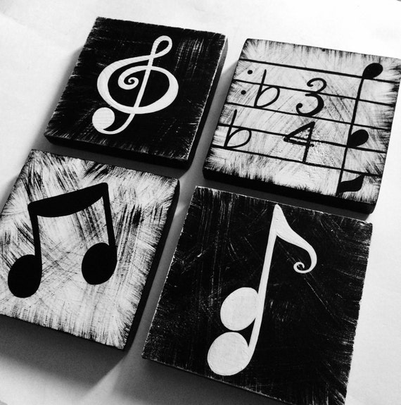 Music Inspired Wall Decor : Music inspired black and white wall art tiles set of