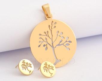 Tree Pendant and Stud earring Set Stainless Steel EX068