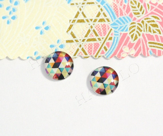 400pcs handmade triangle clear glass dome cabochons 12mm (12-0331)