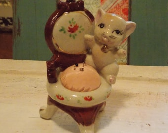 Vintage JAPAN Porcelain PINCUSHION Painted Victorian Chair CAT Sewing Room Accessory 1940s