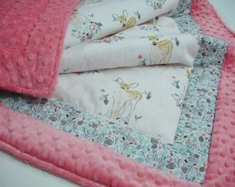 Fawn in Winter Minky Blanket You Choose Size and Minky Color MADE TO ORDER No Batting