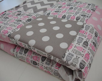 Owl Medley Pink and Gray 3 Piece Baby Crib Bedding Set MADE TO ORDER Free Shipping