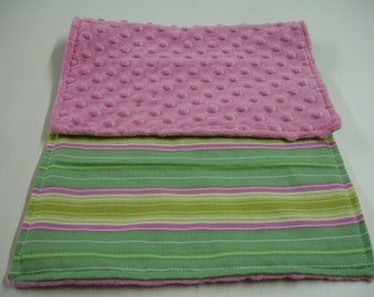 Pink and Green Stripes Cloth with Minky 11 X 20 READY TO SHIP On Sale