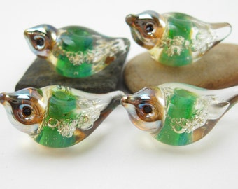 4 green bubble bird beads lampwork handmade artisan glass
