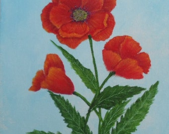 Poppy Painting Acrylic Painting of Poppies