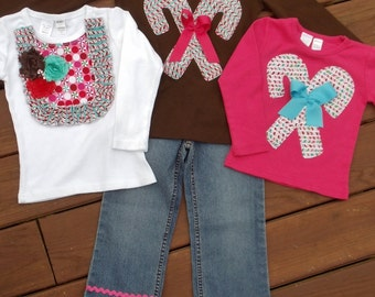 "Girls ""CANDY LAND""  collection Ribbon fringe jeans w/ Candy Cane or Bib style  tee shirt  in size 6-12-18-24 mth. 2T, 3/4T, 5/6T, 7/8"