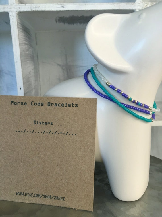 Sisters Morse Code & Matching Accessory - 2 Pack Bracelet set