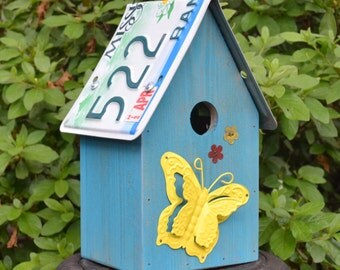 Butterfly Birdhouse - Rustic Birdhouse - Primitive Birdhouse - Recycled Birdhouse - License Plate Birdhouse