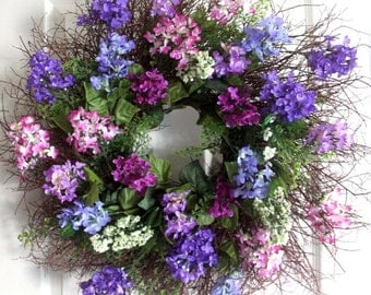 Lilacs and berries spring wreath, Spring wreath for front door, Spring decor, Easter wreath, Mother's Day gift