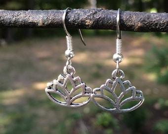 Lotus Flower Dangle Earrings