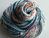 Handspun Art Yarn - WINTER BIRDS - Teal, Aqua, Orange, White. Bird Charms, Glass Beads, Mother of Pearl. Luxury Knitting. 224 yds, 4.13 oz