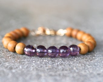 Amethyst Gemstone and Sandalwood Bead Handmade Bracelet, Labradorite Jewelry, Bohemian, Purple and Tan Beaded Bracelet, Yoga Bracelet