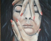 """Oil Painting Face Self Portrait 18"""" x 24"""" READY to SHIP"""