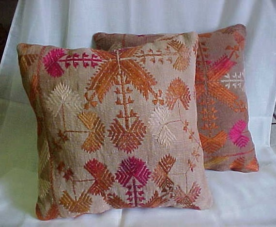 PILLOWS made from VINTAGE Middle Eastern FabricAppears