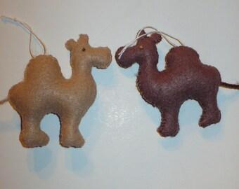 Two Miniature Felt Camel Ornaments