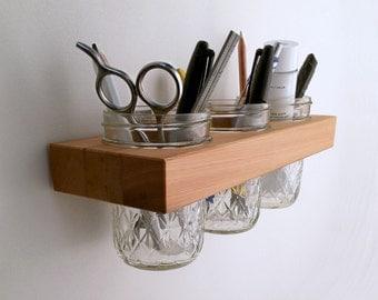 Organizer, Jelly Jar Cups Wall Organizer in Reclaimed Wood, Mason Jar Wall for Bath, Kitchen or Office