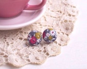 Spring Floral- Tiny Button Earrings