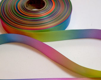 Rainbow Ribbon,  Double-faced rainbow satin ribbon 7/8 inch wide x 10 yards
