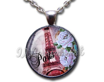 Eiffel Tower Paris France Glass Dome Pendant or with Chain Link Necklace SM191