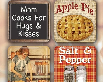 """60% OFF CLEARANCE Good Home Cooking - Set of 4 Glass Tile Magnets 1"""" square CUSI108"""