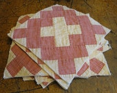 Antique Quilt Piece | Vintage Quilt Piece |  Old Quilt PIece |  Cutter Quilt Piece |  Red And White Quilt Square | Listing Is For 1 Square
