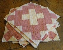 Antique Quilt Piece | Vintage Quilt Piece |  Old Quilt PIece |  Cutter Quilt Piece |  Red And White Quilt Square | Listing Is For 1 Square