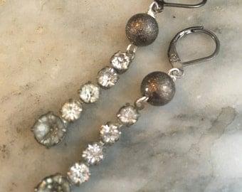 Big City - rhinestone earring vintage sparkle stars Great Gatsby dangle Victorian wedding bridal night sky constellation steampunk