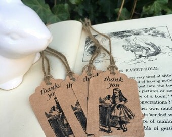 Thank you tags x 10 - Alice in Wonderland, - loot bag tags, favour bag tag, favor