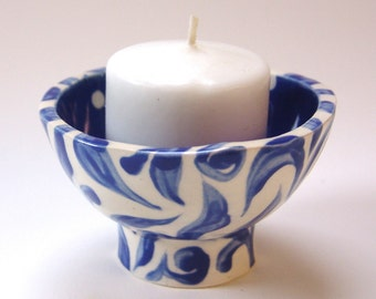 Holiday Blue & White pottery dish w/ polka-dots, leaves, swirls :) Holiday Decor, jewelry dish, ring holder, candleholder