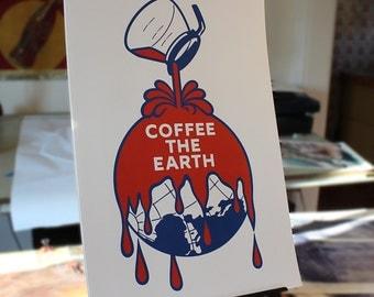 Coffee The Earth - remix of the Sherwin Williams logo digital art print