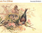 ON SALE Baby birds & nest in wild roses, French Postcard,  Instant Digital Download, FrA178