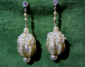 Romantic Caged Pearl and Seed Bead Wedding Earrings
