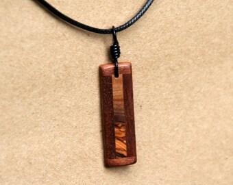 Handmade Black Walnut and Olive Wood Pendant J160606