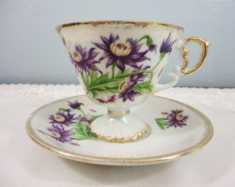 "Enesco ""Flower of the Month"" September Aster Lusterware Pedestal Teacup and Saucer"