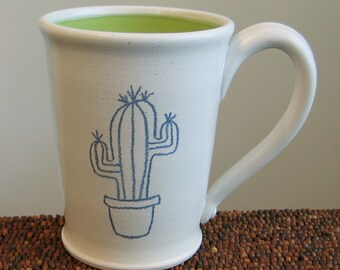 Cactus Mug - Stoneware Pottery Large Coffee Mug - Green Thumb or Gag Gift 14 oz.