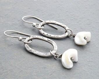 White Mother of Pearl Organic Dangle Earrings, Organic Shape Mother of Pearl, Shell Earrings, Hammered Silver Oval Earrings,  #3409