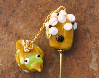 HUGE SALE Bird and Bird House Lampwork DeSIGNeR Stick Pin Accessory Scarf Pin Use as Scarf Connector Brooch Blazer Sweater