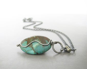 turquoise and silver necklace, boho oxidized stone pendant, rustic silver jewelry