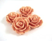 BOGO - 4 Salmon Rose Cabochons Acrylic Opaque Flowers 17mm No Holes - 4 pc - CA2029-SN4 - Buy 1, Get 1 Free - No coupon required