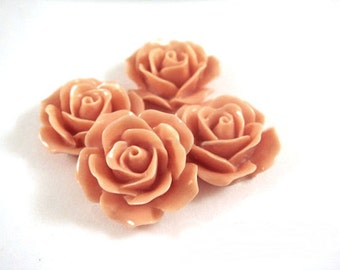 4 Salmon Rose Cabochons Acrylic Opaque Flowers 17mm No Holes - 4 pc - CA2029-SN4