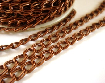 25ft Copper Chain Double Link 6x5mm Antique Copper Plated Iron Not Soldered - 25 ft - STR9022CH-AC25