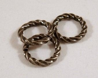 50 Silver Twisted Jump Rings 10mm Antique Fancy Open 16 gauge Brass 10mm Outside - 50 pc - 5211