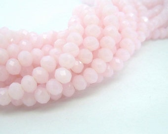 50 Pink Glass Beads Opaque Rondelle Faceted Abacus 6x4mm - 50 pc - G6026-PK50