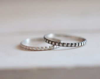 Silver Band. Sterling silver soft beaded ring, Silver ring, Stacking ring, Beaded ring, Engagement ring, Wedding ring, Wedding band, Mini.