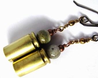 Bullet Casing Earrings, Wire Wrapped, Jasper Stones, Copper Beads, Brass Jewelry, by Hendywood